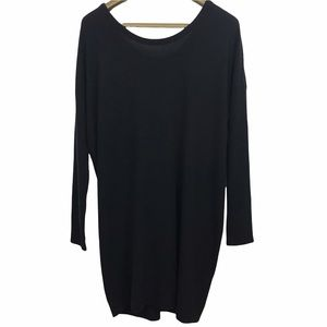 Chaser Long Sleeve Crew Neck Tie Back Detail Tunic Knit Shirt